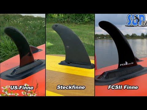 Die drei gängigsten Finnen-Systeme bei SUP-Boards im Vergleich (Steckfinne, US-Finne, FCSII)