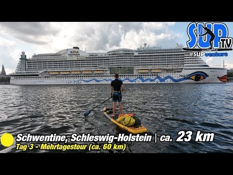 SUP-Tour auf der Schwentine - An KREUZFAHRTSCHIFFEN 🛳 vorbei bis KIEL | SUPventure 🌳 Tag 3